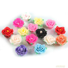 30pcs 110716 New Wholesale Assorted Roses Flowers FIMO Polymer Clay Beads 18mm