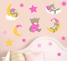 Childrens Teddybears & Stars - Pink - 15 Pack Wall Stickers Nursery Teddy Bears