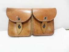 VINTAGE FRENCH ARMY LEATHER AMMO DOUBLE BELT POUCH