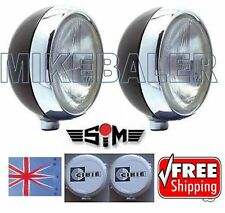 "2x 7"" SIM DRIVING SPOT LAMPS LIGHTS H4 MAIN/DIP +CIBIE OSCAR COVERS SPOTLIGHT"