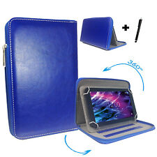 360° drehbare 7 zoll Tablet Tasche Hülle -  blackberry playbook - Zipper Blau 7