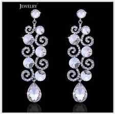 Sparkling Silver Austrian Diamante Crystal Big Drop Pendientes Earrings Wedding