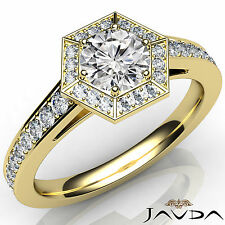 Round Diamond Hexagon Pave Set Engagement Ring GIA F VS2 18k Yellow Gold 1.21Ct