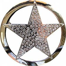 SILVER CHROME SHERIFF STAR with Rhinestones Belt Buckle western