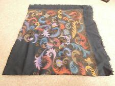 Ladies large wool scarf, shawl, or wrap black floral