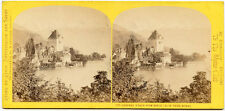 W. ENGLAND ALPINE CLUB STEREOVIEW SWITZERLAND CHATEAU CASTLE OBERHOFEN LAKE THUN