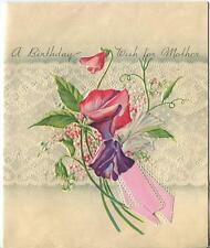 VINTAGE FAUX LACE DESIGN SWEET PEAS GAREN FLOWERS MOTHER BIRTHDAY GREETING CARD