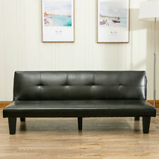 Convertible Futon Sofa Bed Couch Home Living Room Dorm Sleeper Lounge, Black