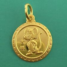 24K Yellow Gold Year Rat Pendent Chinese Zodiac Animal Sign Round 1.9 Grams