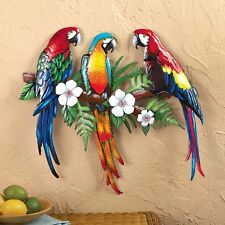 Colorful Parrot Birds Tropical Flowers Metal Wall Art Hanging Home Decor