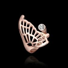 18K Rose Gold Plated Butterfly with Zircon Rhinestone Ring Jewelry *UK Seller