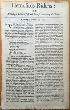 1681 London Tory Newspaper Anti-Catholic Heraclitus Ridens King Charles England