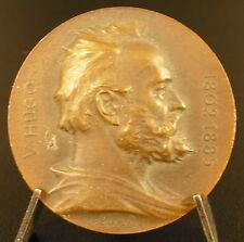 Médaille au Romancier Poète Dramaturge Pamphlétaire Victor Hugo c1902 33mm Medal