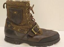 sz 9 D mens brown leather&whool RALPH LAUREN POLO winter hiking duck style boots