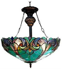 "Tiffany Style Stained Glass Victorian 2 Light Inverted Pendant Fixture 18"" Shade"