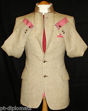 MEN'S DONEGAL HANDWOVEN MAGEE BEIGE TWEED DESIGNER JACKET UK 40R