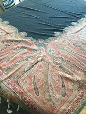 "Antique Fine Wool Paisley Shawl 72"" Square VC35"