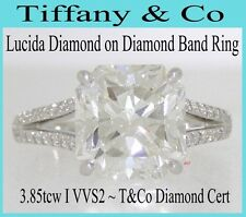 TIFFANY & CO PLAT LUCIDA DIAMOND RING 3.85tcw T&CO DIAMOND CERT I VVS2  SIZE 4¾