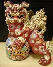 """28"""" H MARKED Kutani Yahata Kiln JAPANESE SHOWA KUTANI FOO DOG SHISHI TEMPLE LOIN"""