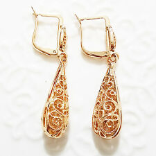 Vintage Carved Drop Dangle Earrings Yellow Gold Plated Women Jewelry A135