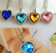 Set of 4 Stainless Steel Titanic Heart Necklaces in Pink, Yellow, 2 Blues