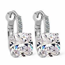 Silver Clear Swarovski Crystal Cushion Cut Leverback Square Bridal Earring XE37