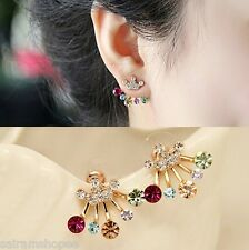 DOUBLE SIDED EARRINGS Crown diamond crystal valentine women gold plated cuff