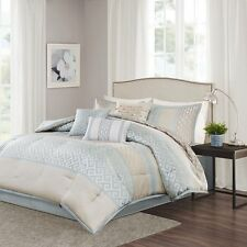 Madison Park 100% Polyester Jacquard 7 Piece Comforter Set Queen Aqua MP10-2415