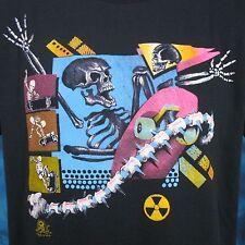 vtg 80s SKATE SKELETON PAPER THIN T-Shirt LARGE board punk surf skull skateboard