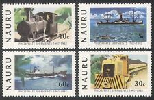 Nauru 1982 trenes/Vapor/Carril/ferrocarriles/barcos/barcos/minería/transporte 4v Set n25710