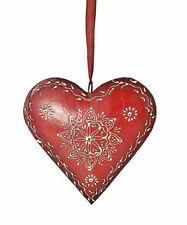 Vintage Inspired Red & White Metal Wall Hanging Heart with ribbon  83-9867