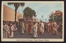 Postcard TARPON SPRINGS FL Greek Epiphany Parade 1950's
