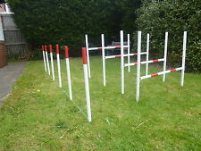 dog agility jump 3 hurdle 6 weave set training obetience exercise fun equipment