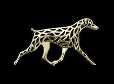 Doberman Dog Brooch Pin-Fashion Jewellery Gold Plated, Stud Back Cropped tail