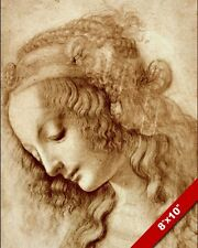 LEONARDO DA VINCI SKETCH PAINTING PROFILE OF WOMANS FACE REAL CANVAS ART PRINT