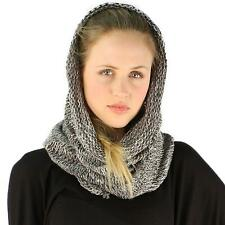 Winter Unisex Long Pullover Knit Single Loop Tube Infinity Hood Cowl Scarf Gray