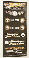 NEW Genuine Harley Davidson Willie G Skull HD logo mini decal sticker sheet