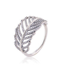 Size 7 Pave Leaf/Feather Genuine Authentic 925 Solid Sterling Silver Dress Ring