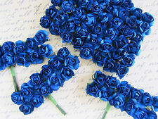 144 Mulberry Paper Rose Flower Bouquet/Wire Stem/Green/Craft H420-Royal Blue