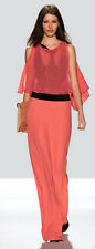 "$628 BCBG RUNWAY CORAL REEF ""PALOMA"" DRAPED SLEEVELESS LONG GOWN DRESS NWT XS"
