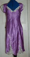 NEW sz 12 Boutique Deep lilac Silk Satin Dress with Cream lace inserts Beads