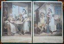 Georgian 18th Century Hand Coloured Stipple Engravings 1791 by William Nutter