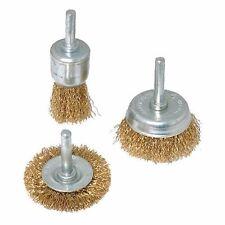BRASSED STEEL WIRE WHEEL & CUP BRUSH SET 3 PCE GRINDER METAL STONE TOOL P478