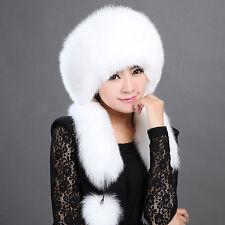 Women Real White Fox Fur Hat Russian Winter Neck Warmer Ear Cap Ushanka Ski Hat