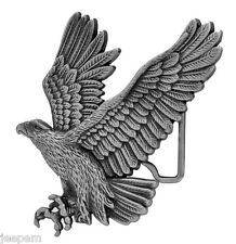 Swooping American Eagle 3D Belt Buckle Antique Silver Effect fix to own belt New