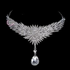 Wedding Crystal Bride Crown Prom Party Chain Pendant Bridal Hair Tiara Headband