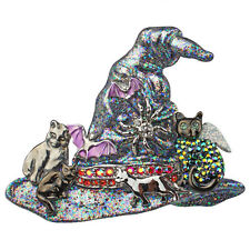 KIRKS FOLLY BLACK CAT'S MENAGERIE WITCH HAT PIN / ENHANCER / NECKLACE SILVERTONE