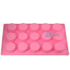 15 Holes Round Cylinder Silicone Jelly Ice Cake Chocolate Mould Soap Making DIY