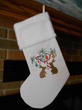 Rabbits,Candy Canes & Ornaments, Bunny HANDMADE EMBROIDERED CHRISTMAS STOCKING