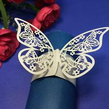 12pcs Napkin White Butterfly Ring Paper Holder Table Party Wedding Favors Decor